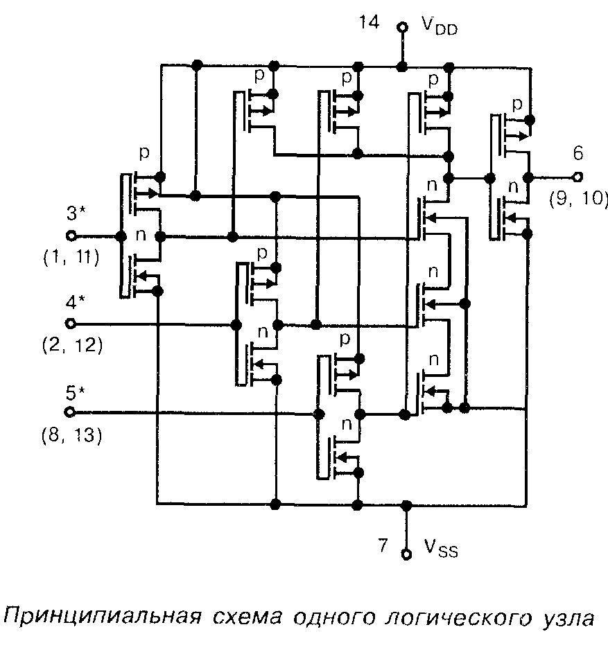 Микросхема 4025 - Принципиальная схема одного логического узла