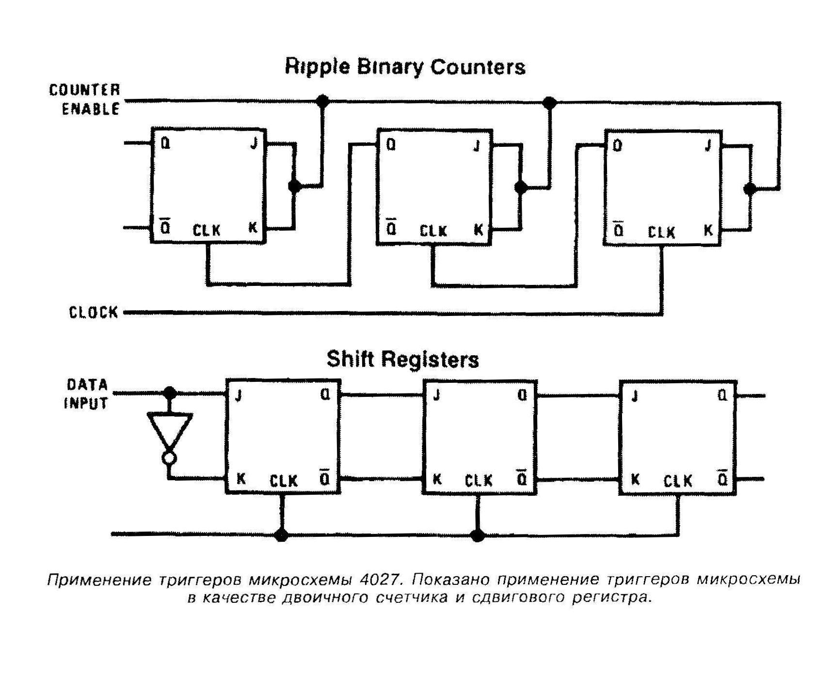 Применение микросхемы 4027 в качестве двоичного счётчика и сдвигового регистра