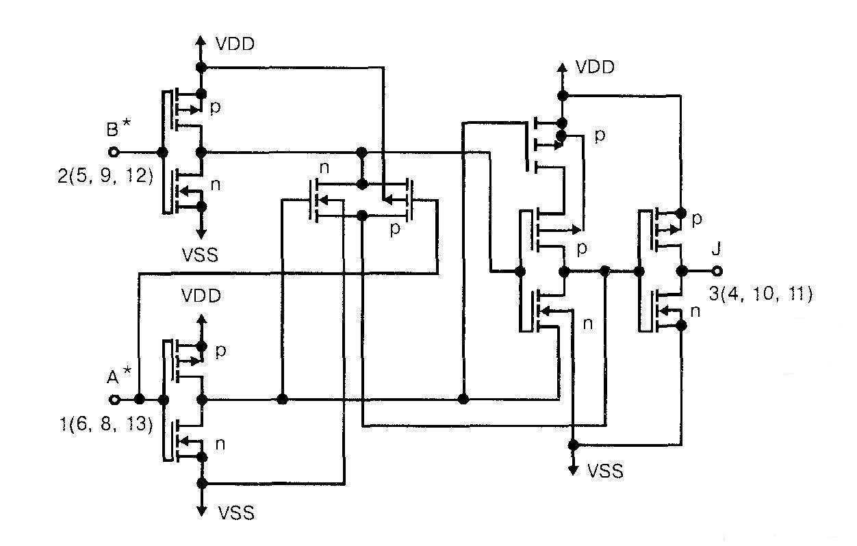 Микросхема 4030 - принципиальная схема одного элемента