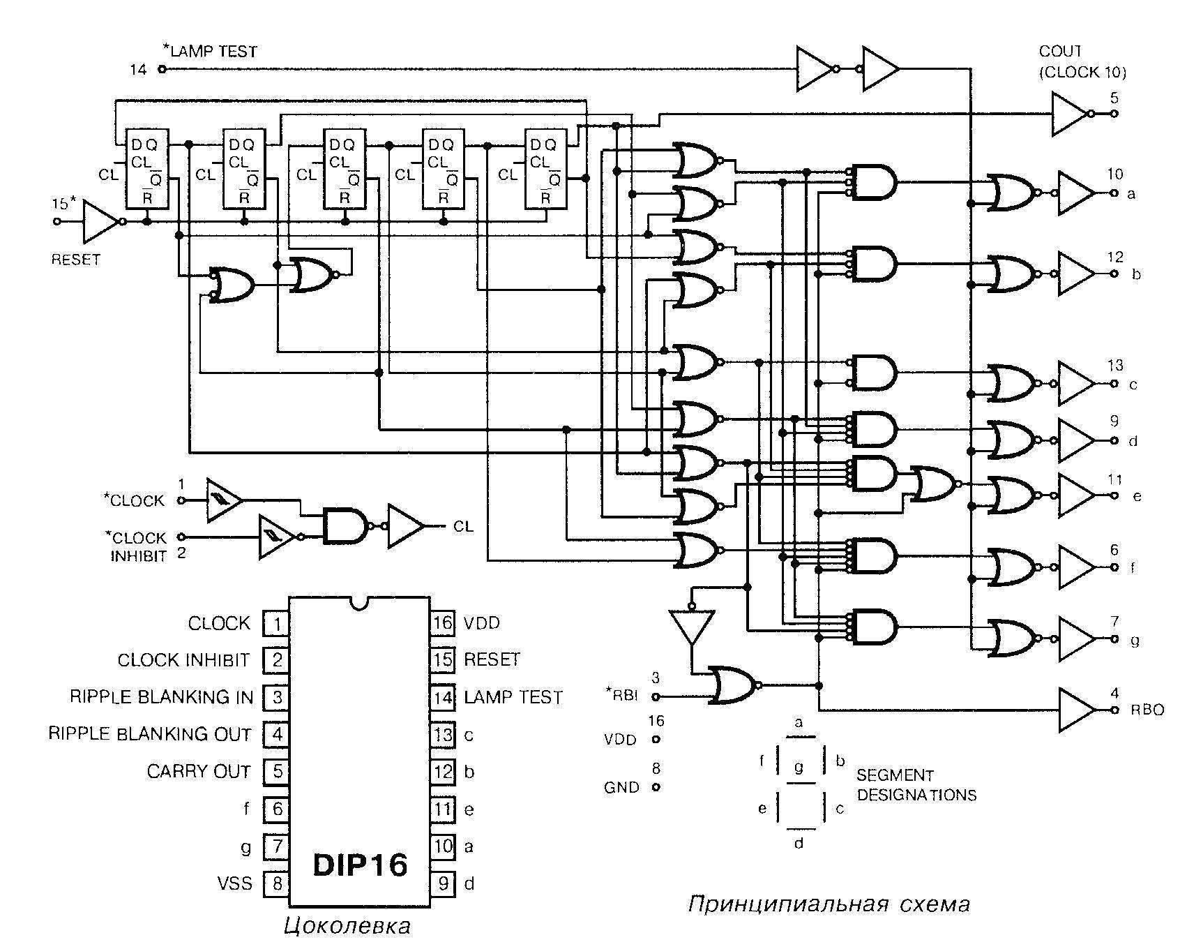 Микросхема 4033 - принципиальная схема и цоколёвка
