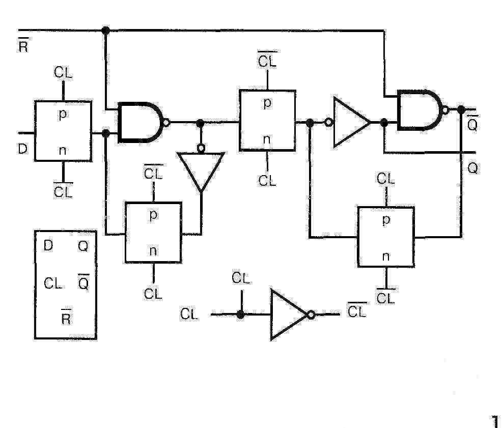 Микросхема 4033 - принципиальная схема одного триггера