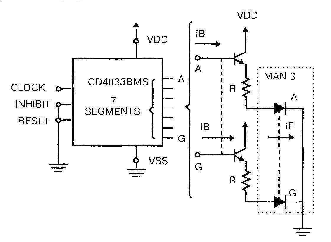 Микросхема 4033 - подключение светодиодов с общим катодом