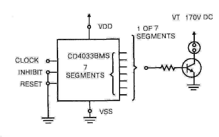 Микросхема 4033 - подключение неоновых ламп