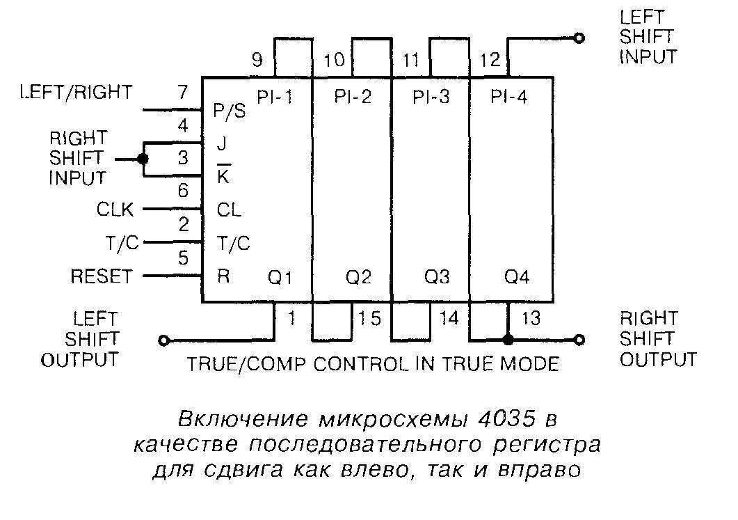 Микросхема 4035 - включение в качестве последовательного регистра для сдвига как влево, так и вправо