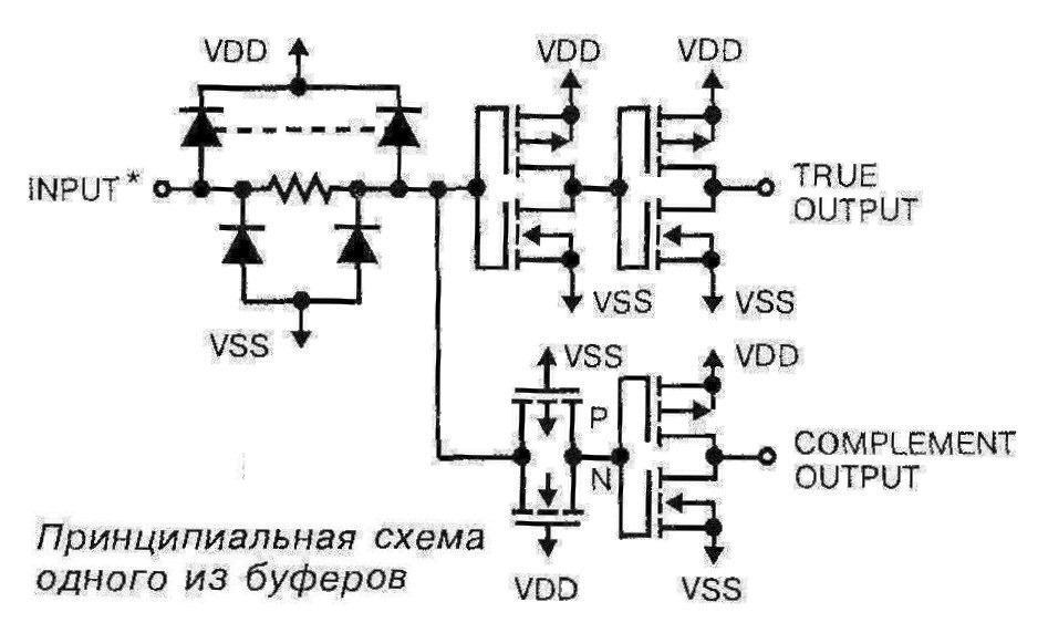 Микросхема 4041 - принципиальная схема одного из буферов