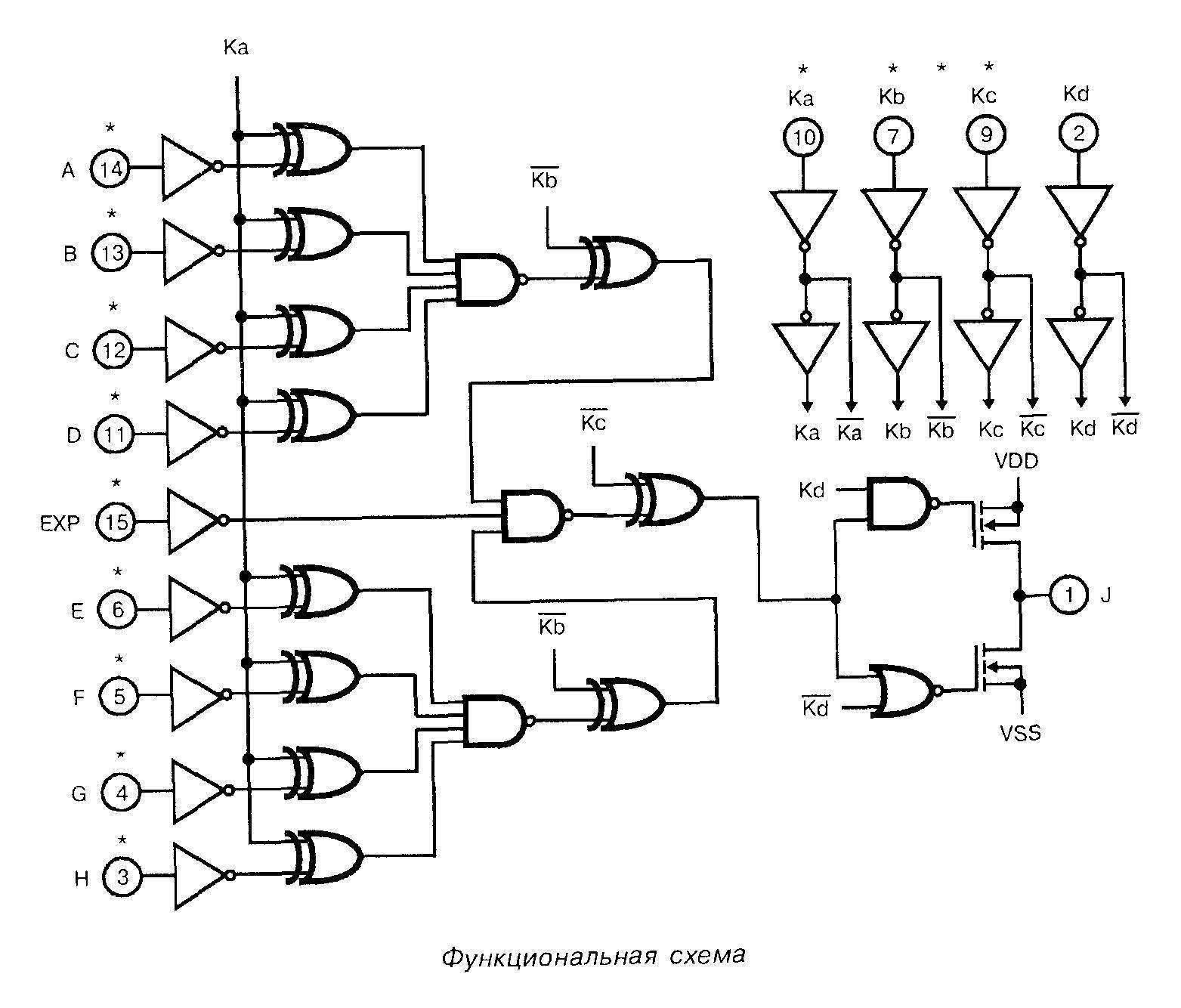 Микросхема 4048 - функциональная схема