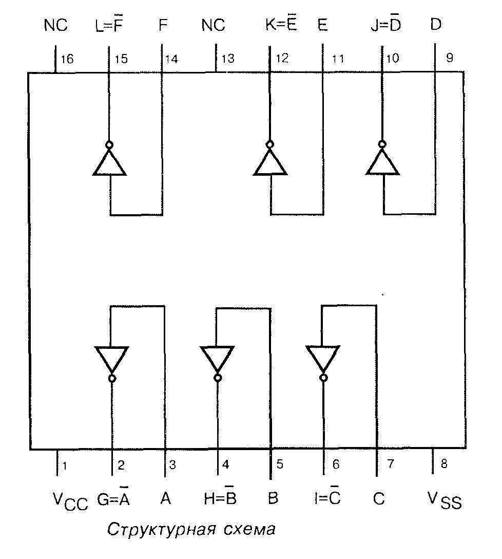 Микросхема  4049 - структурная схема