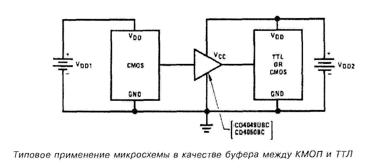 Микросхема  4049 - типовое применение в качестве буфера между КМОП и ТТЛ