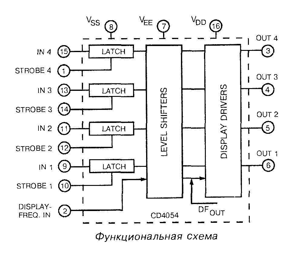 Микросхема 4054 - функциональная схема