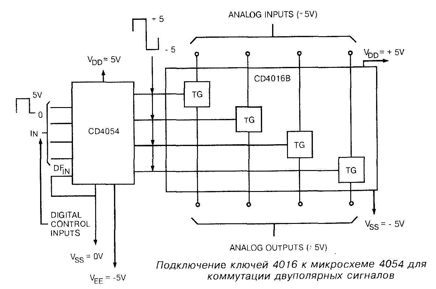 Подключение ключей 4016 к микросхеме 4054 для коммутации двуполярных сигналов