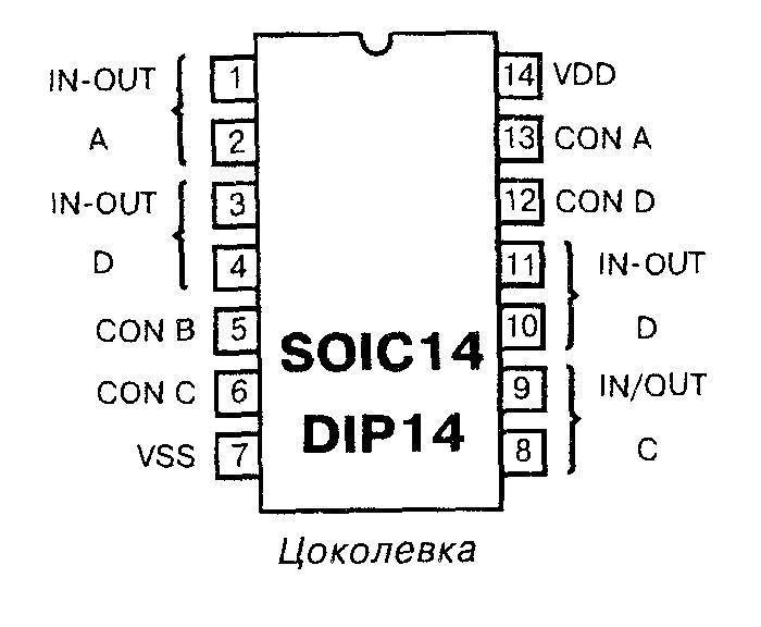 Микросхема 4066 - цоколёвка