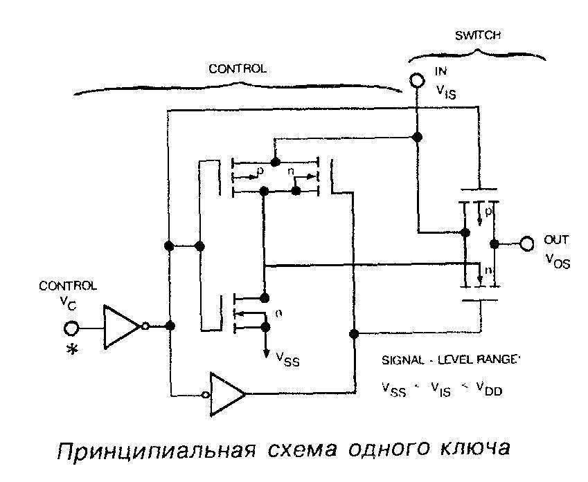 Микросхема 4066 - принципиальная схема одного ключа