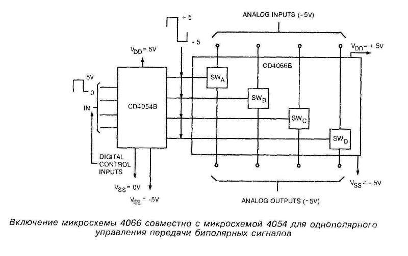 Включение микросхемы 4066 совместно с микросхемой 4054 для однополярного управления передачи биполярных сигналов