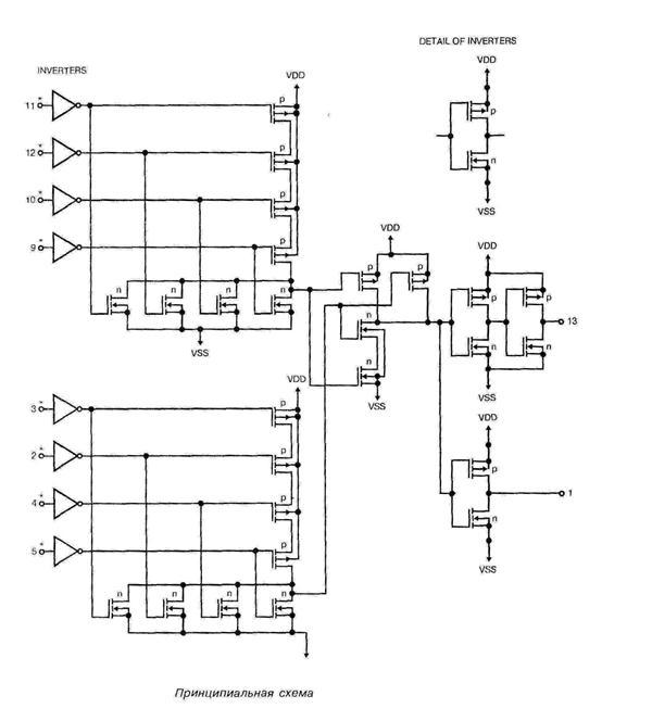 Микросхема 4068 - принципиальная схема