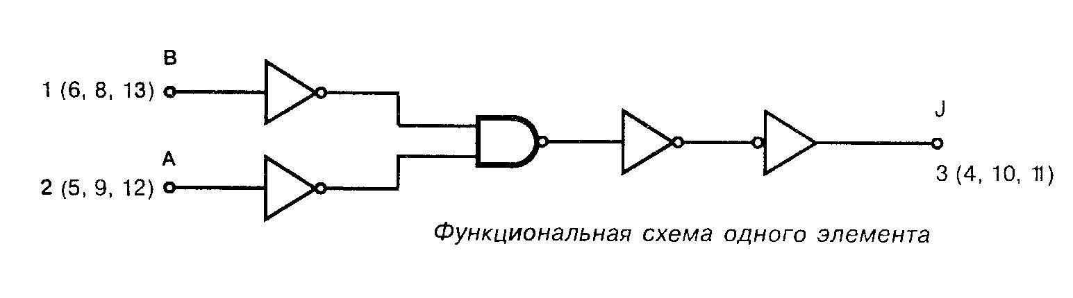 Микросхема 4073 - функциональная схема одного элемента