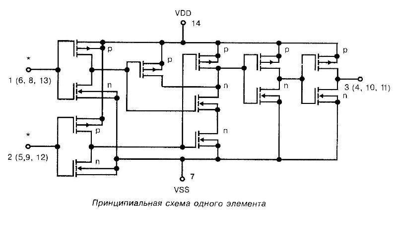 Микросхема 4073 - принципиальная схема одного элемента