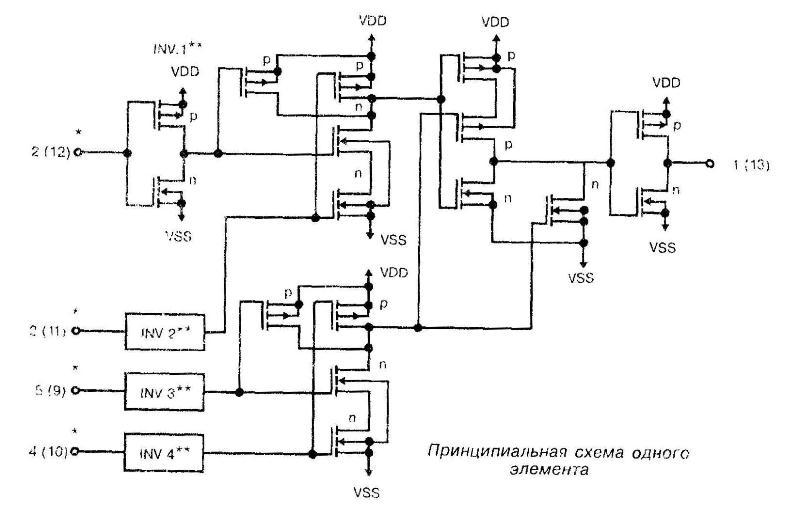 Микросхема 4072 - принципиальная схема одного элемента