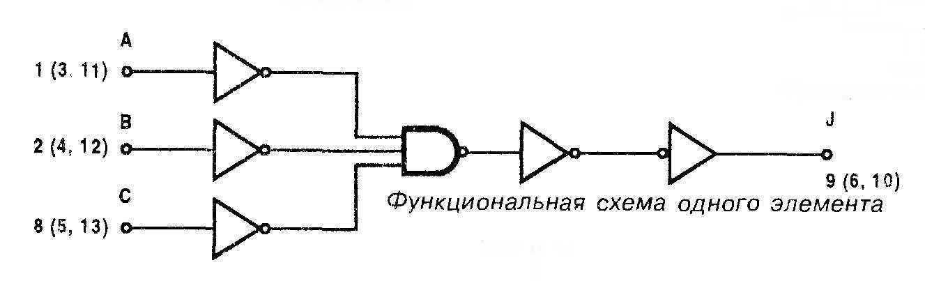 Микросхема 4075 - функциональная схема одного элемента