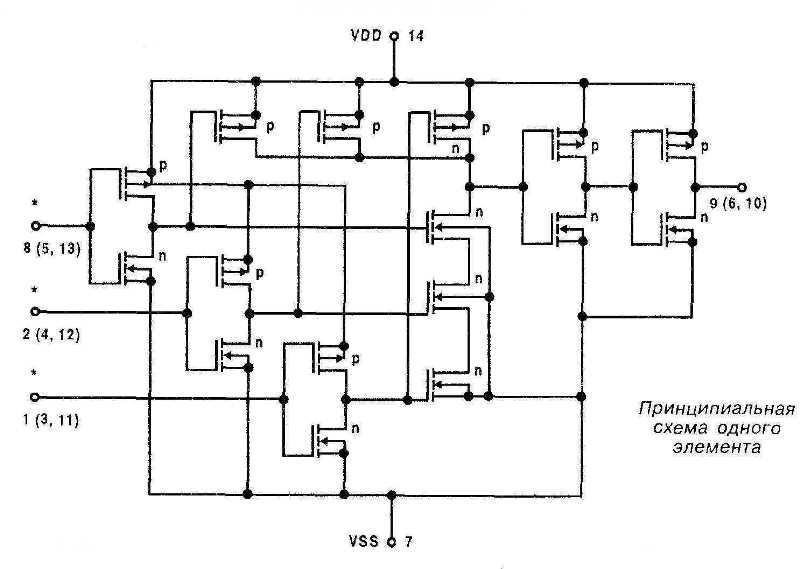 Микросхема 4075 - принципиальная схема одного элемента