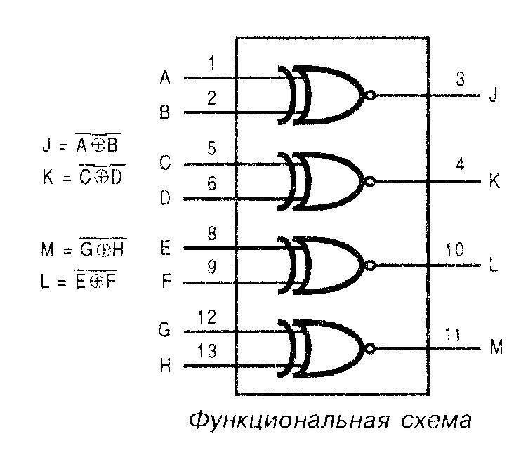 Микросхема 4077 - функциональная схема