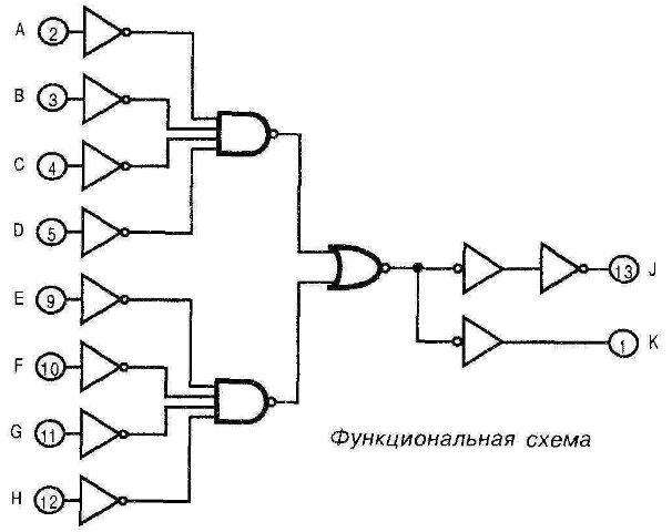 Микросхема 4078 - функциональная схема