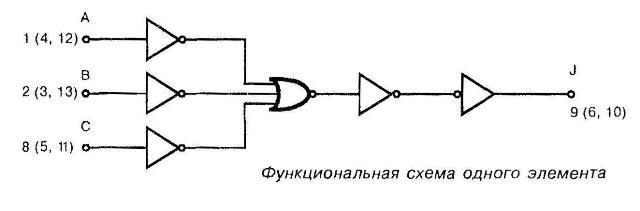 Микросхема 4082 - функциональная схема одного элемента