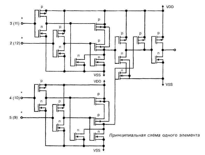 Микросхема 4082 - принципиальная схема одного элемента