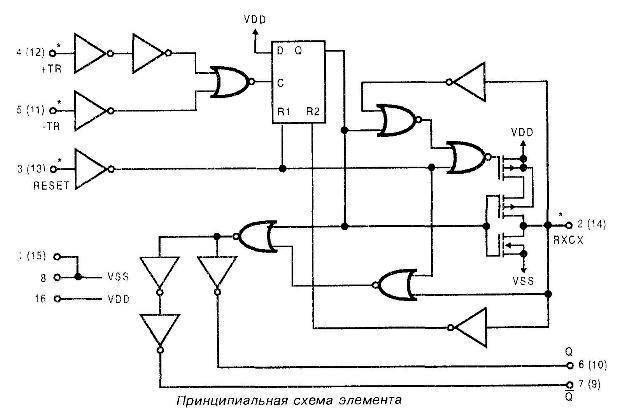 Микросхема 4098 - принципиальная схема элемента