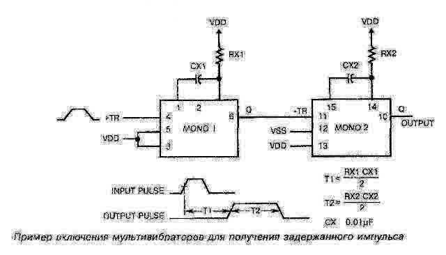 Пример включения мультивибратора для получения задержаного импульса