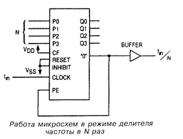 Микросхемы 4522, 4526 - работа в режиме делителя частоты в N раз