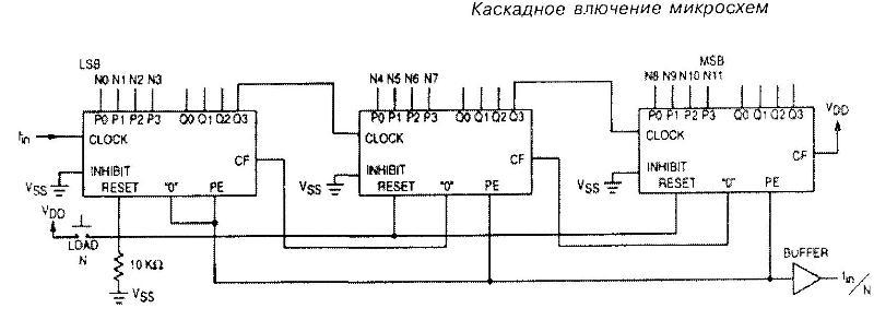 Микросхемы 4522, 4526 - каскадное включение