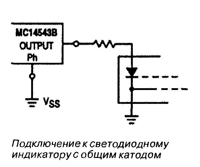 Микросхема 4543 - подключение к светодиодному индикатору с общим катодом