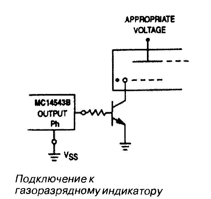 Микросхема 4543 - подключение к газоразрядному индикатору