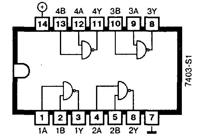 7403-S1 - четыре логических элемента 2И-НЕ (открытый коллектор, 15 В)