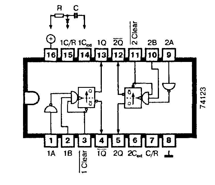 Микросхемы: 74123, 74L123, 74LS123 - два одновибратора с входами сброса