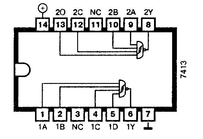 Микросхемы: 7413, 74ALS13, 74F13, 74LS13, 74S13