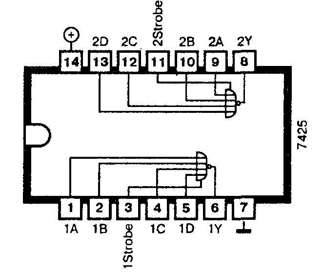 Микросхема 7425 - два логических элемента 4ИЛИ-НЕ со стробирующими входами