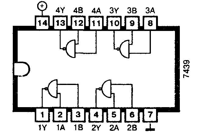 Микросхема 7439 - четыре мощных логических элемента 2И-НЕ