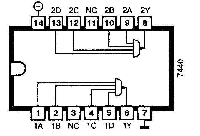 Микросхемы: 7440, 74ALS40, 74F40, 74H40, 74LS40, 74S40.</p>