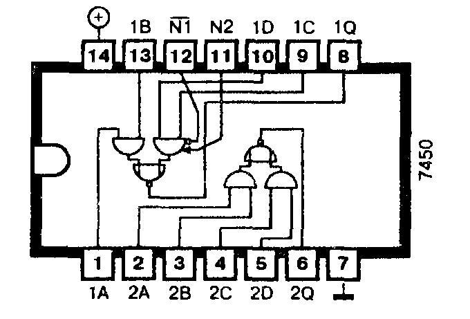 Микросхема 7450 (74H50) - два отдельных логических элемента 2-2И-2ИЛИ-НЕ
