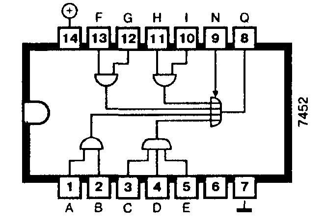 Микросхема 7452 (74H52) - логический элемент 2-2-2-3И-4ИЛИ