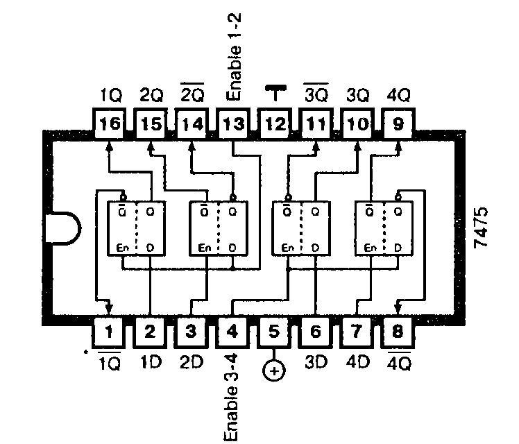 Микросхема 7475 содержит четыре D-триггера